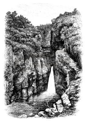 Fototapeta 19. století vodopádu poblíž Lydford, Devon, Velká Británie