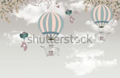 Fototapeta 2 slon s balónem na obloze tapety 3d