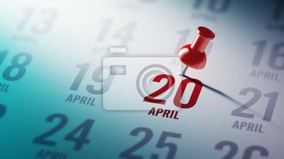 20.dubna napsané na kalendáři vám připomene významnou appoin
