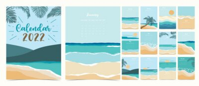 Fototapeta 2022 table calendar week start on Sunday with beach and sea that use for vertical digital and printable A4 A5 size