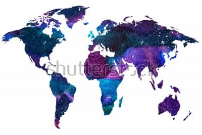 Fototapeta 2drawn kreslená ilustrace mapa světa. Barevný gradient akvarelu obrazu izolované planety Země. Barevné kontinenty. Bílé pozadí.