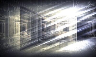 Fototapeta 3 d pozadí, výhled wire-frame pohled