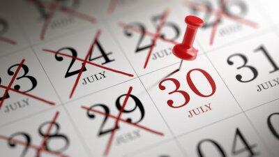 30.července napsané na kalendáři vám připomene důležité jmenovat