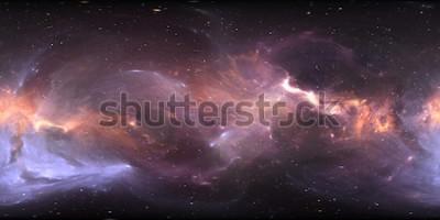 Fototapeta 360 ° vesmírná panoráma mlhoviny, přímočará projekce, mapa prostředí. Sférické panorama HDRI. Místo na pozadí s mlhovinou a hvězdami. 3d ilustrace