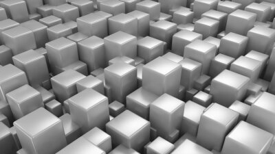 Fototapeta 3D abstract background. Dark metal cubes 3d illustration technology background
