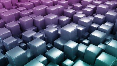 Fototapeta 3D abstract background. Dark metallic boxes cubes 3d illustration technology background