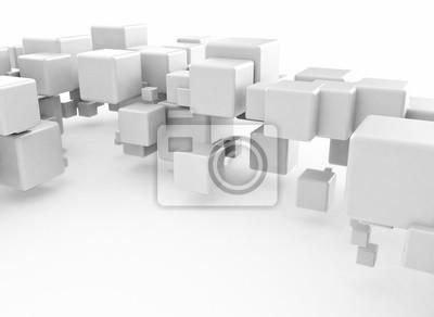 3D abstraktní kostky na bílém pozadí