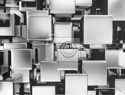 Fototapeta 3d abstraktní kovové kostky pozadí