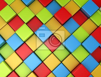 Fototapeta 3d barevné kostky pozadí