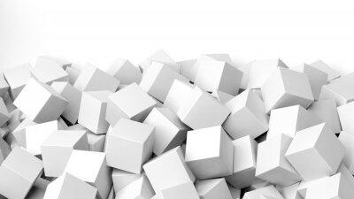 Fototapeta 3D bílé kostky hromadu, na bílém s kopií vesmíru