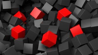 Fototapeta 3D černé a červené kostky hromadu abstraktní pozadí