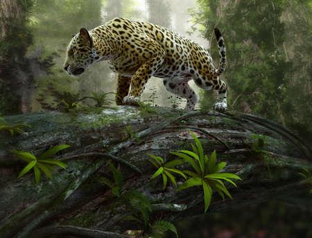 Fototapeta 3d CG graphics of a jaguar on the prowl