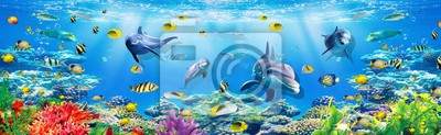 Fototapeta 3d illustration  wallpaper under sea dolphin, Fish, Tortoise, Coral reefsand water with broken wall bricks background. will visually expand the space in a small room, bring more light and become an ac