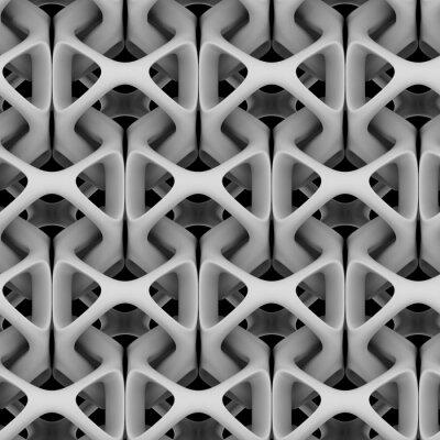 Fototapeta 3d ilustrace, bílý matný abstraktní řetěz na černém pozadí