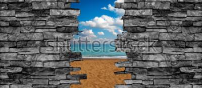 Fototapeta 3D kamenné zdi strop krajiny tapety