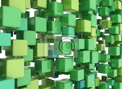 Fototapeta 3D kostky pozadí Green