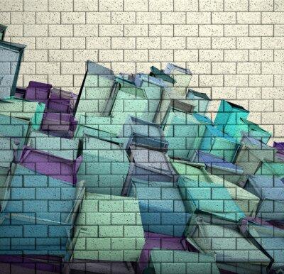Fototapeta 3d mozaika cihlová zeď s kostkou roztříštěné vzorem