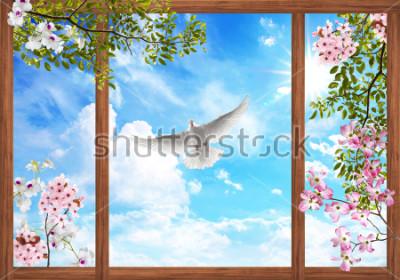 Fototapeta 3D obloha mraky a krásný strom, květ rám
