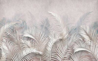 Fototapeta 3d picture of palm leaves on the background