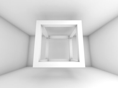 Fototapeta 3d pozadí ilustrační, létání prázdný paprsek kostka