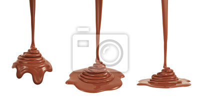 Fototapeta 3D rendering of melted milk chocolate pouring and folding on sphere form and ground plane, isolated on white - Illustration