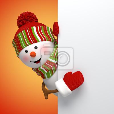 Fototapeta 3d sněhulák Nový rok banner, zimní dovolenou pozadí