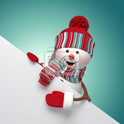 Fototapeta 3d snowman holding banner, holiday background
