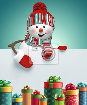 Fototapeta 3d snowman, New Year banner, gift boxes, illustration
