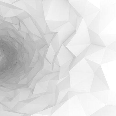 Fototapeta 3d tunel s chaotickým polygonálním povrchem