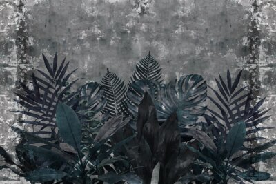 Fototapeta 3d wallpaper, blue leaves of houseplants on concrete wall textured background. The original panel will turn your room in with the most recent world trends in interior fashion.