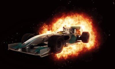 Fototapeta 3D závodní auto s ohnivým efektem výbuchu