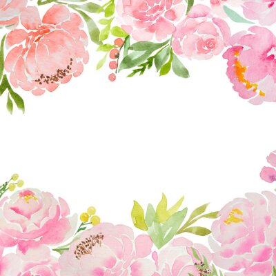 Fototapeta A beautiful square blank for a card with careless watercolor pink peonies and roses and a white background. For a wedding, a birthday. Delicate pastel colors for design.