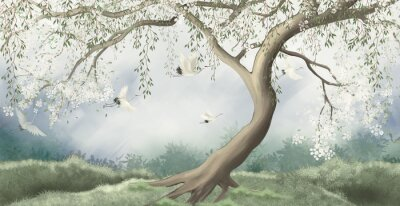 Fototapeta A tree in the fog with a crane flying. For interior printing.