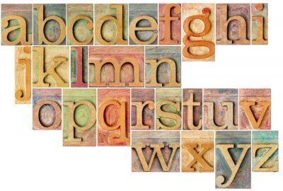 Fototapeta abeceda v knihtisk dřeva