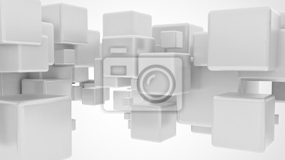 Fototapeta Abstract 3d flying metallic cubes isolated on white background