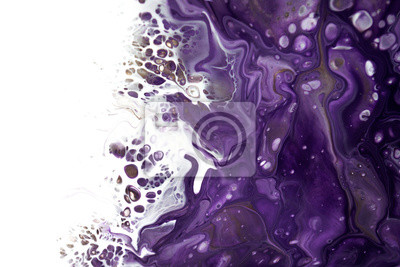 Fototapeta Abstract acrylic liquid pouring painting art white and purple