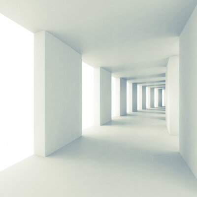 Fototapeta Abstract architecture 3d background, empty white corridor