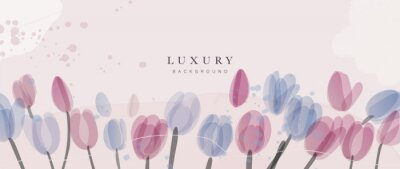 Fototapeta Abstract art flower background vector. Luxury minimal style wallpaper with golden line art floral and botanical leaves, Tulip, rose, Spring growing flowers and Organic shapes watercolor.