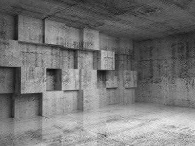 Fototapeta Abstract beton 3d interiér s dekorací kostky na zeď