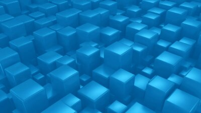 Abstract blue cubes background 3d render