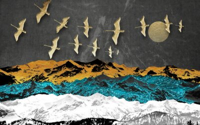 Fototapeta Abstract colored mountains on a dark background, full moon, flock of birds