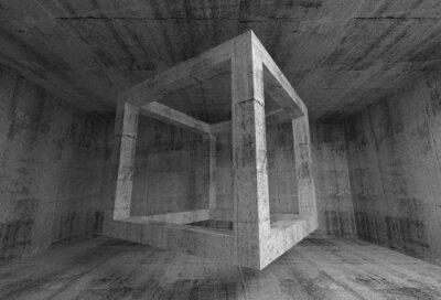 Fototapeta Abstract dark gray concrete room interior. 3d flying cube