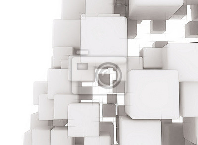 Fototapeta Abstract digital 3d cubes white background