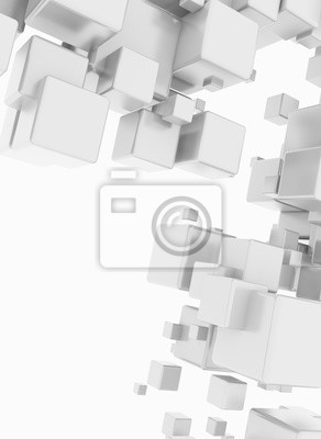 Fototapeta Abstract flying boxes isolated on white background. 3D render