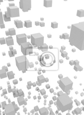 Abstract flying boxes isolated on white background. 3D render