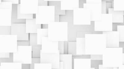 Fototapeta Abstract geometric background. Overlapping white 3d squares. 3D illustration