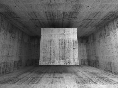 Fototapeta Abstract gray room interior. 3d background with flying cube