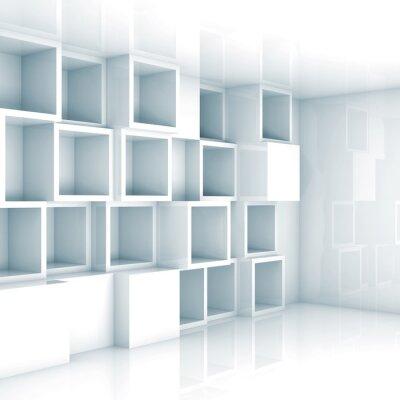 Fototapeta Abstract prázdný 3d interiér, bílé prázdné kostka police na zeď