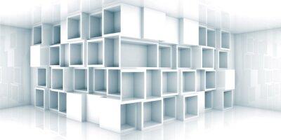 Fototapeta Abstract prázdný 3d interiér pokoje se skříňkou v rohu
