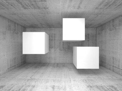Fototapeta Abstrakt beton interiér, létající kostky 3 d